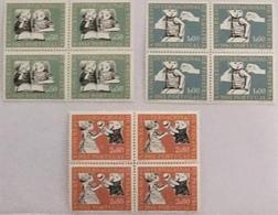 """POR#4180-Set Of 3 Blocks Of 4 MNH Stamps - """"X. Congresso Internacional De Pediatria"""" - Portugal - 1962 - Blocs-feuillets"""