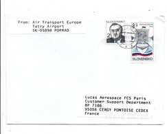 SLOVAQUIE AFFRANCHISSEMENT COMPOSE SUR LETTRE POUR LA FRANCE 1996 - Cartas
