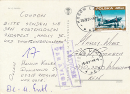 POLEN / POLAND  -  KOSOW LACKY  -  1989  -    Bomber  PZL P-37  -   Karte Nach Wunstorf - 1944-.... Republik
