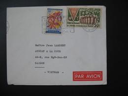 Lettre  Côte D'Ivoire 1964  Pour Le Viêt-Nam Saigon  Cachet Abidjan  TP  Fleurs Et Foire De Bouaké - Ivory Coast (1960-...)