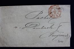 1877 LAC CAD ROUGE DES IMPRIMES 6 DEC 1877 TRIBUNAL DE COMMERCE DE PARIS .VERSO CAD PARIS/VAUGIRARD.. - 1877-1920: Semi Modern Period