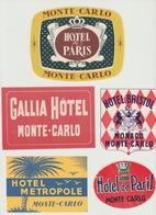 98 - MONACO MONTE CARLO -  5 ETIQUETTES DE VALISE - LABEL HOTEL - Vieux Papiers