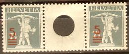 Schweiz Suisse 1921: Aufdruck Zwischensteg Loch Zu S15 Mi WZ1A Pont Avec Trou Yv 181 O 181 ** MNH (Zumstein CHF 27.00) - Se-Tenant