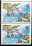 "1979 URUGUAY Pair Proof Epreuve -black Colour Double Print- REPRESA ""SALTO GRANDE"" DAM BARRAGE ARGENTINE Coat Of Arms - Uruguay"