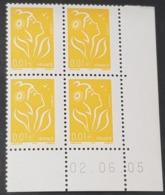 N° 3731 Neuf ** Gomme D'Origine, Bloc De 4 Avec Coins Datés  TTB - Dated Corners