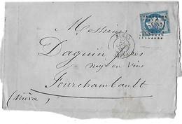France Fragment De  Lettre - Napoléon III Empire Franc - N° 22 Bleu Dentelé -cad Nimes 22 0ct 68 - Oblitération GC 2659 - 1862 Napoléon III