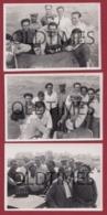PORTUGAL - CASCAIS - BAIA - LOTE 3 PCS - GRUPO DE PESCADORES - 1950 REAL PHOTO - Fotografia