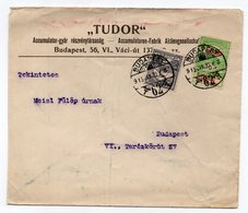 1915 HUNGARY, BUDAPEST LOCAL MAIL, TUDOR, COMPANIES HEADCOVER - Hungary