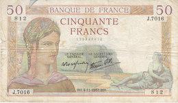 Billet 50 F Cérès Du 4-11-1937 FAY 18.04 Alph. J.7016 - 1871-1952 Circulated During XXth