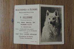 CALENDRIER DE POCHE DE 1942 - MACHINES A ECRIRE P. JULLIENNE - 21 RUE DAVY PARIS 17° ARRONDISSEMENT - CHIEN LOULOU - Calendriers