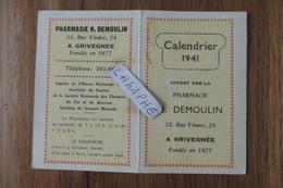 CALENDRIER DE POCHE DE 1941 - PHARMACIE H. DEMOULIN 24 RUE VINAVE A GRIVEGNEE - BELGIQUE - Calendriers