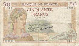 Billet 50 F Cérès Du 3-12-1936 FAY 17.32 Alph. U.5268 - 1871-1952 Antichi Franchi Circolanti Nel XX Secolo