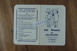 CALENDRIER DE POCHE DE 1972 - CAFE BRASSERIE DE L EUROPE - 3 AVENUE DE PARIS A ORLEANS - Calendriers