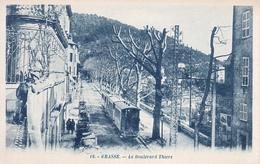 06 - Grasse : Le Boulevard Thiers - Le Tramway - CPA écrite - Grasse