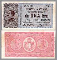 REGNO D'ITALIA / MINISTERO DEL TESORO : BUONO Di CASSA Da UNA LIRA -  DECRETO MINISTERIALE - 19 AG. 1914 - RRR ! (ae761) - [ 1] …-1946: Königreich