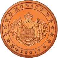 Monaco, 2 Euro Cent, 2001, Proof, FDC, Copper Plated Steel, KM:168 - Monaco