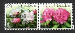 Sc. # 2919 & 30 Flowers Rhododendron Ex. Souvenier Se-Tenant Pair Booklet Pair Used  2009 K603 - 1952-.... Règne D'Elizabeth II
