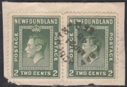 Newfoundland 1938 Used Sc #245 Pair Bay Roberts, Newf'd MR 21 45 Split Circle - 1908-1947