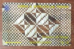 TONGA TEXTURES OF TONGA T$10 CABLE & WIRELESS PHONECARD PAS UNE TÉLÉCARTE - Tonga