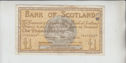 AB08. 8th March 1949 Bank Of Scotland £1 Banknote #J0419448. Free UK P+p! - [ 3] Scotland