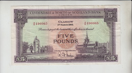 AB582 Clydesdale & N. Of Scotland Bank Ltd £5 Note 1 March '60 A/B 196065. - 5 Pounds