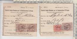 LOTTO 2 RICEVUTE SOCIETA' ANGLO ROMANA PER LA ILLUMINAZIONE DI ROMA 1922 - Historical Documents
