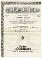 Titre Ancien - La Royale Belge - Société Anonyme D'Assurances Sur La Vie Et Contre Les Accidents - Contrat De 1936 - Banque & Assurance