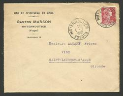 """88 - VOSGES / Enveloppe Commerciale """" Vins & Spiritueux G. MASSON """" à MOYENMOUTIER / 1959 - 1921-1960: Modern Period"""