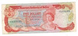 BELIZE, 5 Dollars 1980, F/VF, Rare. - Belize