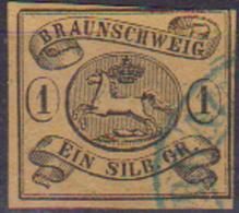 GERMANIA ANTICHI STATI BRUNSWICK 1853-65 STEMMA UNIF. 7a  USATO VF - Bergedorf