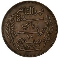 Monnaie, Tunisie, Muhammad Al-Nasir Bey, 10 Centimes, 1912, Paris, TTB, Bronze - Tunisia