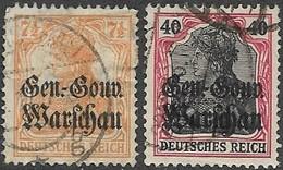 Poland   1916   Sc#N9, N15  Used  2016 Scott Value $5 - ....-1919 Übergangsregierung