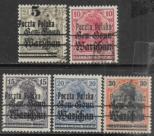 Poland   1918   Sc#16, 19  Used, #20-1 MH, #24 MNG   2016 Scott Value $4.60 - ....-1919 Übergangsregierung