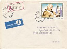 POLEN / POLAND  -  NOWY SACZ  - 1986  -  Papst Johannes Paul II.   -   R-Brief Nach Würzburg - 1944-.... Republik