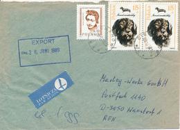 POLEN / POLAND  -  CIECHANOW - 1989  -  Rauhaardackel , Frauenkopf   -   Brief Nach Wunstorf - 1944-.... Republik