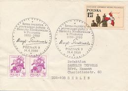 POLEN / POLAND  -  POZNAN  - 1980  -   35 Jahre Volksarmee  -  Henryk Sienkiewicz   -   Brief Nach Berlin - Briefe U. Dokumente