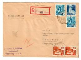 Einschreiben Überlingen/Bodensee Nach Karlsruhe 1948 - Zona Francese
