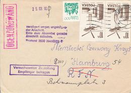 POLEN / POLAND  -  RACIBORZ  - 1982  - Transporthubschrauber Mi-6 , Krakau  -  Fehlende Postleitzahl , Nach Hamburg - 1944-.... Republik