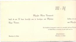 Aankondiging Huwelijk - Faire Part Mariage - Hugo Vroman X Maria Vermeersch - Aalter - Maria Aalter - 1956 - Mariage