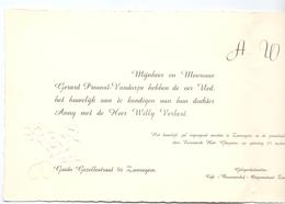 Aankondiging Huwelijk - Faire Part Mariage - Willy Verkest X Annu Provost - Zwevegem - Stasegem 1960 - Mariage