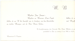 Aankondiging Huwelijk - Faire Part Mariage - Bruno Gielen X Monique Engels - Leut - Tongeren 1961 - Mariage