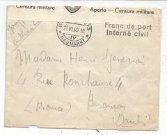 LETTRE DE SUISSE HELVETIA 21.VI.1940 + CENSURA MILITARE POUR BESANCON DOUBS + MENTION INTERNE CIVIL - Storia Postale