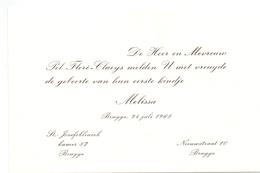 Geboortekaartje - Melissa Floré - Brugge 24 Juli 1968 - Birth & Baptism