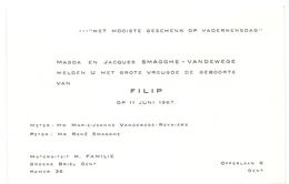 Geboortekaartje - Filip Smagghe - Gent 11 Juni 1967 - Birth & Baptism