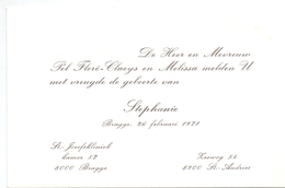 Geboortekaartje - Stephani Floré - St Andries Brugge -  26 Februari 1971 - Birth & Baptism