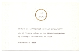 Zilveren 25 Jarig Jubileum Huwelijk - Omer & Margriet Sikaet - Callaert - Eede 1976 - Mariage