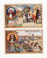 Chromo  BISCUITS PERNOT    Lot De 2    Washington, Guillaume II     10.3 X 6.5 Cm - Pernot