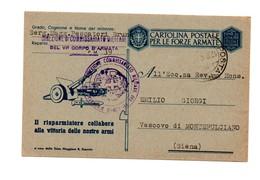 CARTOLINA POSTALE PER LE FORZE ARMATE 1942 DIREZIONE DI COMMISSARIATO MILITARE DEL VI CORPO D'ARMATA - 1900-44 Vittorio Emanuele III