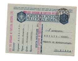 CARTOLINA POSTALE PER LE FORZE ARMATE COMANDO DI DIVISIONE FANTERIA MESSINA 1943 - 1900-44 Vittorio Emanuele III