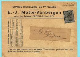 N° 183 PREO - LIEGE 1922 - Afz. Distillerie Motte-Vanbergen Te Grivegnée-lez-Liège - Preobliterati